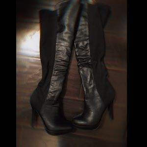 19aebad10960 Black leather knee high boots ...